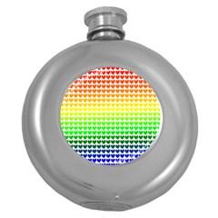 Rainbow Love Heart Valentine Orange Yellow Green Blue Round Hip Flask (5 oz)