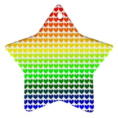 Rainbow Love Heart Valentine Orange Yellow Green Blue Star Ornament (Two Sides)