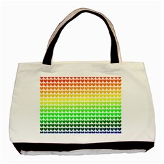 Rainbow Love Heart Valentine Orange Yellow Green Blue Basic Tote Bag (Two Sides)