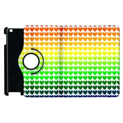 Rainbow Love Heart Valentine Orange Yellow Green Blue Apple iPad 2 Flip 360 Case