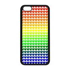 Rainbow Love Heart Valentine Orange Yellow Green Blue Apple iPhone 5C Seamless Case (Black)