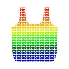 Rainbow Love Heart Valentine Orange Yellow Green Blue Full Print Recycle Bags (M)