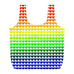 Rainbow Love Heart Valentine Orange Yellow Green Blue Full Print Recycle Bags (L)