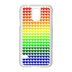 Rainbow Love Heart Valentine Orange Yellow Green Blue Samsung Galaxy S5 Case (White)