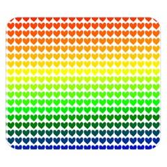 Rainbow Love Heart Valentine Orange Yellow Green Blue Double Sided Flano Blanket (Small)