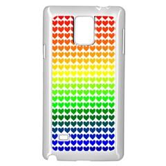 Rainbow Love Heart Valentine Orange Yellow Green Blue Samsung Galaxy Note 4 Case (White)