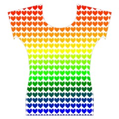 Rainbow Love Heart Valentine Orange Yellow Green Blue Women s Cap Sleeve Top