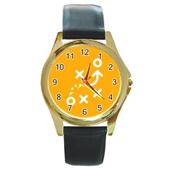 Sign Yellow Strategic Simplicity Round Times Round Gold Metal Watch