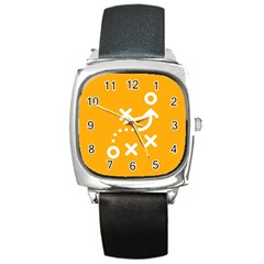 Sign Yellow Strategic Simplicity Round Times Square Metal Watch