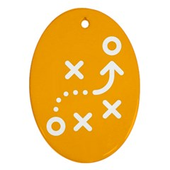 Sign Yellow Strategic Simplicity Round Times Oval Ornament (Two Sides)