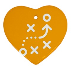 Sign Yellow Strategic Simplicity Round Times Heart Ornament (Two Sides)