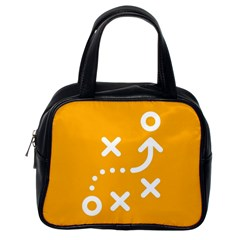 Sign Yellow Strategic Simplicity Round Times Classic Handbags (One Side)