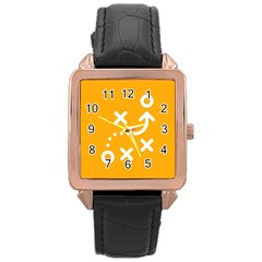 Sign Yellow Strategic Simplicity Round Times Rose Gold Leather Watch
