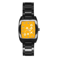 Sign Yellow Strategic Simplicity Round Times Stainless Steel Barrel Watch