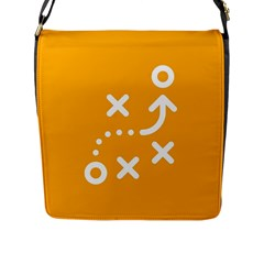 Sign Yellow Strategic Simplicity Round Times Flap Messenger Bag (L)