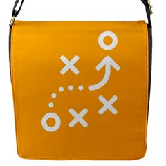 Sign Yellow Strategic Simplicity Round Times Flap Messenger Bag (S)