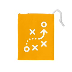 Sign Yellow Strategic Simplicity Round Times Drawstring Pouches (Medium)