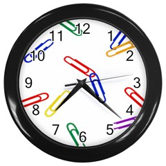 Scattered Colorful Paper Clips Wall Clocks (Black)