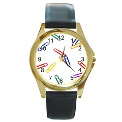 Scattered Colorful Paper Clips Round Gold Metal Watch