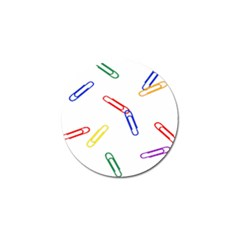 Scattered Colorful Paper Clips Golf Ball Marker