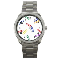 Scattered Colorful Paper Clips Sport Metal Watch