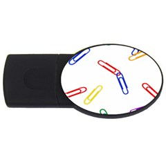 Scattered Colorful Paper Clips USB Flash Drive Oval (4 GB)
