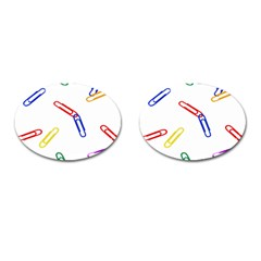 Scattered Colorful Paper Clips Cufflinks (Oval)