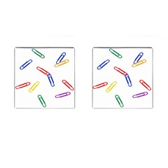 Scattered Colorful Paper Clips Cufflinks (Square)