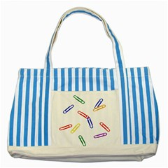 Scattered Colorful Paper Clips Striped Blue Tote Bag