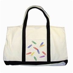 Scattered Colorful Paper Clips Two Tone Tote Bag