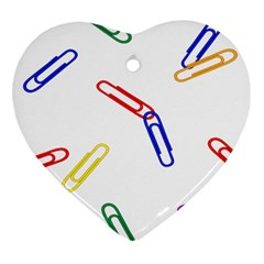 Scattered Colorful Paper Clips Heart Ornament (Two Sides)