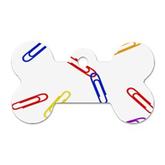 Scattered Colorful Paper Clips Dog Tag Bone (Two Sides)
