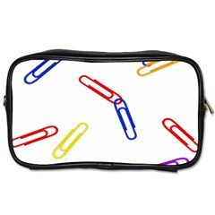 Scattered Colorful Paper Clips Toiletries Bags 2-Side