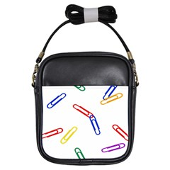Scattered Colorful Paper Clips Girls Sling Bags