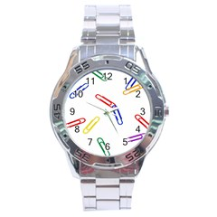 Scattered Colorful Paper Clips Stainless Steel Analogue Watch