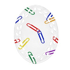 Scattered Colorful Paper Clips Ornament (Oval Filigree)