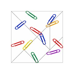 Scattered Colorful Paper Clips Acrylic Tangram Puzzle (4  x 4 )