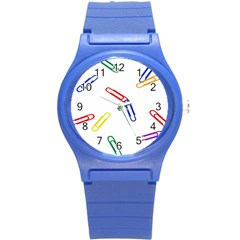 Scattered Colorful Paper Clips Round Plastic Sport Watch (S)