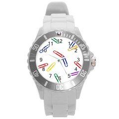 Scattered Colorful Paper Clips Round Plastic Sport Watch (L)