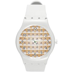 Pattern Retro Background Texture Round Plastic Sport Watch (M)
