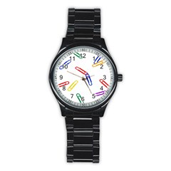 Scattered Colorful Paper Clips Stainless Steel Round Watch