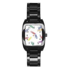 Scattered Colorful Paper Clips Stainless Steel Barrel Watch