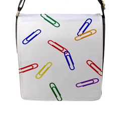 Scattered Colorful Paper Clips Flap Messenger Bag (L)