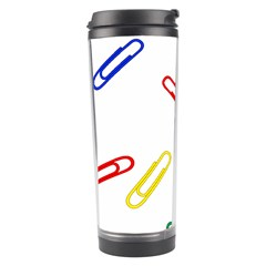 Scattered Colorful Paper Clips Travel Tumbler