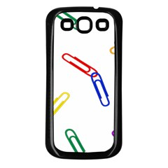 Scattered Colorful Paper Clips Samsung Galaxy S3 Back Case (Black)