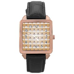 Pattern Retro Background Texture Rose Gold Leather Watch