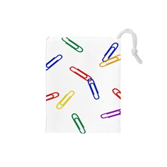 Scattered Colorful Paper Clips Drawstring Pouches (Small)