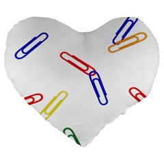 Scattered Colorful Paper Clips Large 19  Premium Flano Heart Shape Cushions