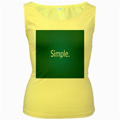 Simple Feature Blue Women s Yellow Tank Top