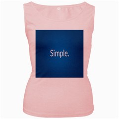 Simple Feature Blue Women s Pink Tank Top
